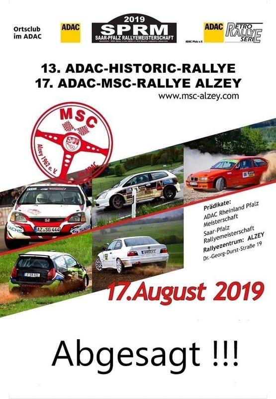 MSC Rallye Alzey 2019 Absage